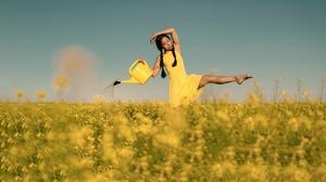 Black Hair Braid Field Girl Model Mood Summer Woman Yellow Dress 2048x1365 Wallpaper