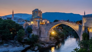 Bosnia Town Outdoors River Lights Bridge Evening Mostar 2560x1707 Wallpaper