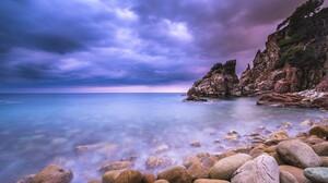 Blue Cloud Earth Horizon Ocean Rock Sea Sky 1920x1200 Wallpaper