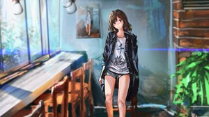 Anime Girls Original Characters Room Ein Eis Blushing Brunette Brown Eyes 2560x1243 Wallpaper