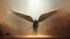 Angel Dark Wings Demon Sword Weapon Tyrael Diablo Iii Diablo Iii Angel Warrior 2560x1600 Wallpaper