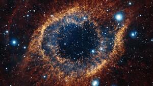Space Nebula Helix Nebula Space Art Stars 3440x1440 Wallpaper