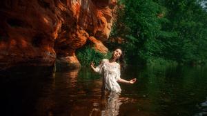 Women Model Brunette Dress Wet Hair In Water Closed Eyes Outdoors Women Outdoors Maxim Gustarev 2560x1707 wallpaper