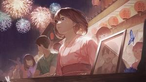 Anime Anime Girls Yukata Kimono Brunette Short Hair Crying Brown Eyes Butterfly Asian Architecture F 4000x2800 Wallpaper