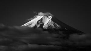 Nature Landscape Winter Snow Yamanashi Mount Fuji Japan Clouds Monochrome Mountains Snowy Peak 1920x1080 Wallpaper