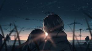 Couple Romantic Sky Sunset Original Characters Arttssam 1920x1080 Wallpaper