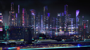 Ianika Morano Cityscape Digital Art Futuristic City Lights Futuristic City Artwork City Lights Drawi 3500x1750 Wallpaper