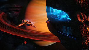 Taenaron 3D Space Planet Spaceship 3840x2160 Wallpaper