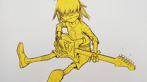 Gorillaz Music Cartoon Guitar Noodle Yellow White Background 1920x1080 Wallpaper