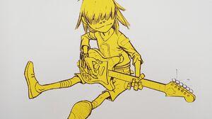 Gorillaz Music Cartoon Guitar Noodle Yellow White Background 1920x1080 Wallpaper