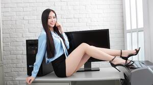 Asian Model Women Long Hair Dark Hair Sitting Desk Black Skirts Blouse Barefoot Sandal Heels Compute 2281x1520 Wallpaper