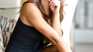 Dessie Mitcheson Model Brunette Women Long Hair Black Dress Sitting Looking At Viewer Portrait Displ 1696x2560 Wallpaper