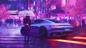 Porsche Rain Neon Artwork Sakura Blossom Crowds Backpacks Umbrella 1920x1080 Wallpaper