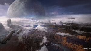 Mazert Young Artwork ArtStation Futuristic Science Fiction Planet Aerial View Landscape Futuristic C 1920x960 Wallpaper