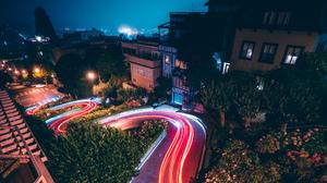 City Light Lombard Street San Francisco Time Lapse Traffic 3840x2160 Wallpaper