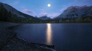 Nature Moon Lake Reflection 2048x1152 Wallpaper