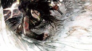 Anime Anime Girls Glasses Sword Brown Eyes Black Hair Long Hair Wings Tattoo 4096x2647 Wallpaper