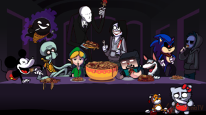 Video Game Characters Mickey Mouse Ghast Link Sonic The Hedgehog Spaghetti Minecraft Parody Hallowee 1920x1080 Wallpaper