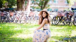 Asian Brunette Depth Of Field Dress Girl Long Hair Model Woman 4562x3043 Wallpaper