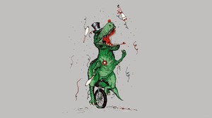 Digital Art Minimalism Simple Background Humor Dinosaurs Unicycle Top Hat Legs Bones Flowers Tyranno 1920x1080 Wallpaper