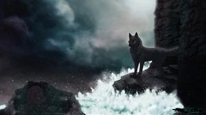 Wolf Storm Sea Dark 3367x2051 Wallpaper