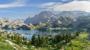 River Wyoming Landscape Lake Mountains 10148x5244 Wallpaper