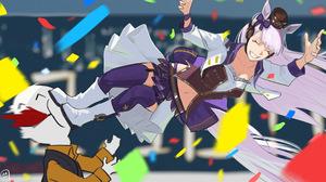 Uma Musume Pretty Derby Smiling Anime Girls Kick Purple Stockings Tail Uniform White Jacket Long Hai 2354x1161 Wallpaper