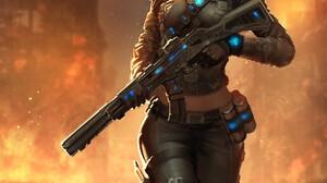 Women Weapon ArtStation Girls With Guns Blonde Fire Burning 1920x2744 Wallpaper