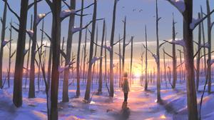 Girl Snow Sunset 4300x3038 Wallpaper