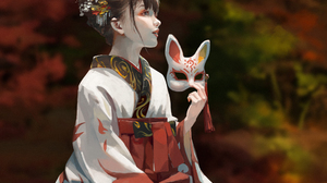 Portrait Display Anime Girls Women Original Characters Traditional Clothing Mask Fall Japanese Cloth 1000x1414 Wallpaper