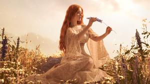 Women Model Cosplay Long Hair Redhead Plants Dress Ophelia 6000x4000 wallpaper