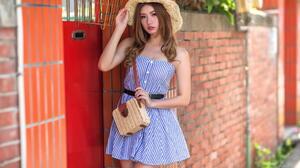 Asian Model Women Long Hair Brunette Depth Of Field Straw Hat Purse Belt Leaning Bricks Wall Plants  1920x1280 Wallpaper