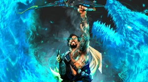 Archer Dragon Hanzo Overwatch Tattoo 1920x1444 wallpaper