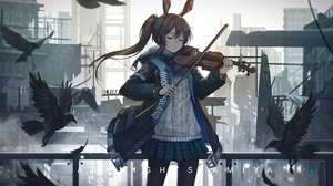 Anime Girls Arknights Amiya Arknights Ponytail Animal Ears Violin Birds Rain Sketch Artist 6434x3508 Wallpaper