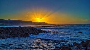 Earth Horizon Ocean Rock Sea Sky Sun Sunbeam Sunset 2048x1361 Wallpaper