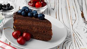 Food Cake Sweets Cherries Fruit Berries Chocolate 1920x1080 Wallpaper