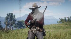 Red Dead Redemption Red Dead Redemption 2 Western Cowboy Screen Shot Gun Shotgun Trees Mountains Gra 1920x1072 wallpaper