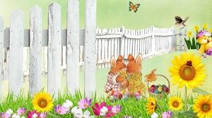 Bird Bunny Butterfly Easter Flower Holiday Spring 1920x1080 Wallpaper