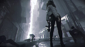 Shal E Drawing Women Pigtails Alleyway Weapon Submachine Gun Low Angle Jacket 1920x925 wallpaper