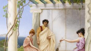 Artwork Painting Greek Greece Classic Art Cats Column 1544x2000 Wallpaper