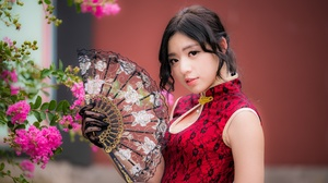 Asian Black Hair Depth Of Field Dress Fan Girl Model Woman 4000x2668 Wallpaper