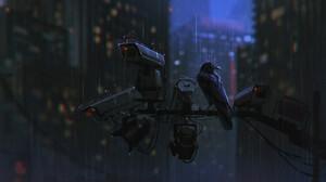 Artwork Crow Camera Rain 1920x1074 Wallpaper