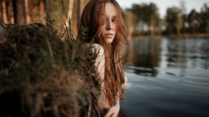 Women Model Redhead Parted Lips Looking Away Lake Depth Of Field Portrait Outdoors Women Outdoors 2560x1707 Wallpaper