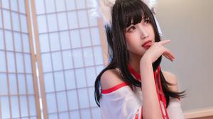 Women Model Asian Brunette Cosplay Fox Girl Miko Portrait Indoors Women Indoors Foxy Ears 4771x3182 Wallpaper