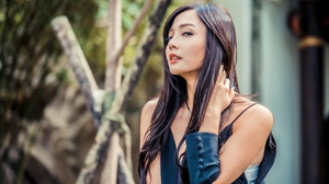 Asian Black Hair Depth Of Field Girl Long Hair Model Woman 2048x1366 wallpaper