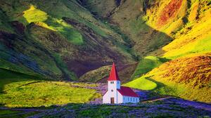 Yiannis Pavlis Landscape Iceland Summer Church Hills Flowers Shadow Sunlight 2048x1286 Wallpaper