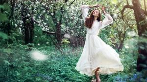 Girl Model Redhead White Dress Woman 2048x1436 Wallpaper