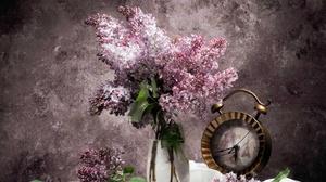 Book Bouquet Clock Lilac 5432x4024 Wallpaper