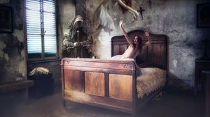 Bed Dark Death Ghost Grim Reaper Room Woman 2048x1371 Wallpaper
