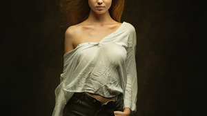 Zachar Rise Women Blonde White Clothing Blouse Pants Simple Background 1912x2048 Wallpaper